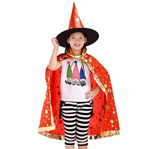 Halloween Zauberer Kostüm,Zauberer Umhang mit Hut Magie Halloween Kostüme für Kinder Junge Mädchen...