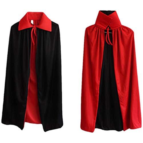 Ecloud Shop Zauberumhang Kinder Vampirumhang mit Kragen Schwarzes Rot Reversible Kleid Goth Devil Piraten...
