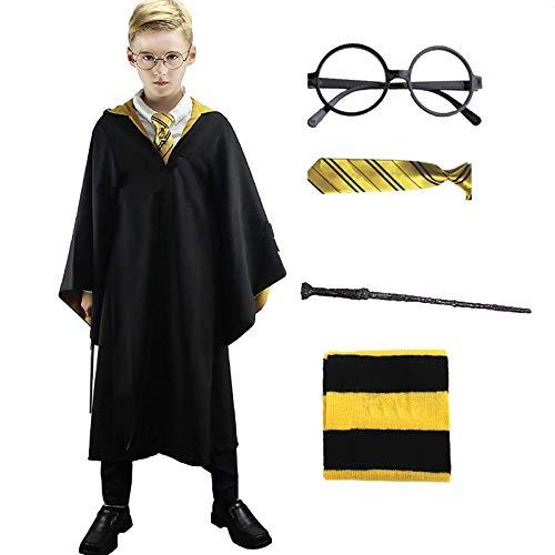 Hongfago Kinder Erwachsene Umhang Kostüm für Zauberer, Fancy Dress Cosplay Outfit Set Zauberstab...