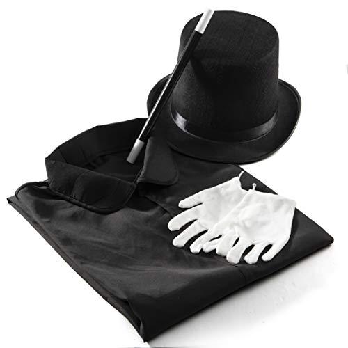 Prextex Zauberer Kinder-Kostüm - Kiddie Rollenspiele Halloween Zauberer verkleiden Set, Zylinderhut,...