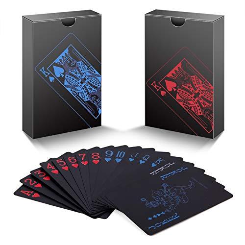 zidwzidwei Spielkarten 2 Kartendecks, Einzigartig kühles Schwarzes Poker Wasserdichtes PVC Plastik...
