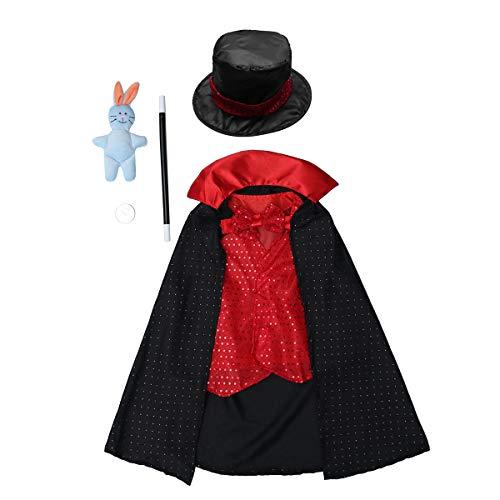 NUOBESTY Zauberer Outfit Halloween Kostüm für Kinder Jungen Mädchen