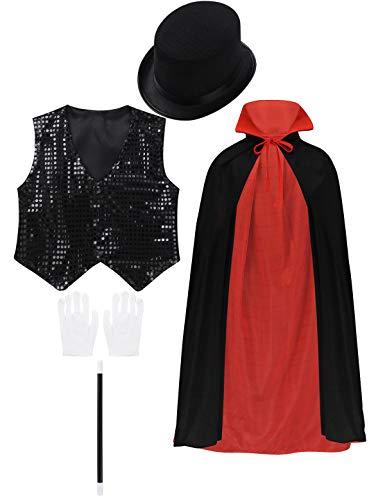 Aislor 5Pcs Kinder Halloween Verkleidung Set Zauberer Umhang Magier Mantel Outfit mit Pailletten Weste...