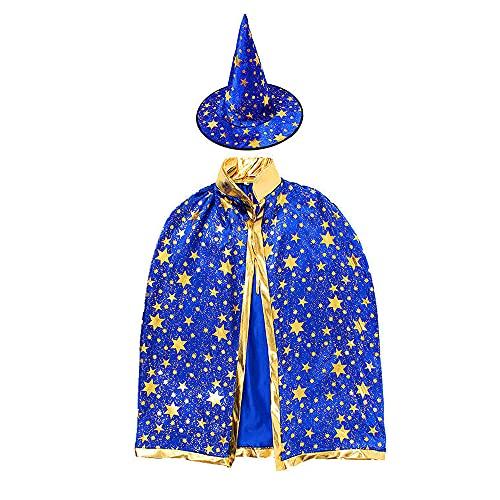 kleinkind kostüm mädchen Hexenhut und Umhang Kind, Kinder Zauberer Umhang und Hut Gold Stern Halloween...