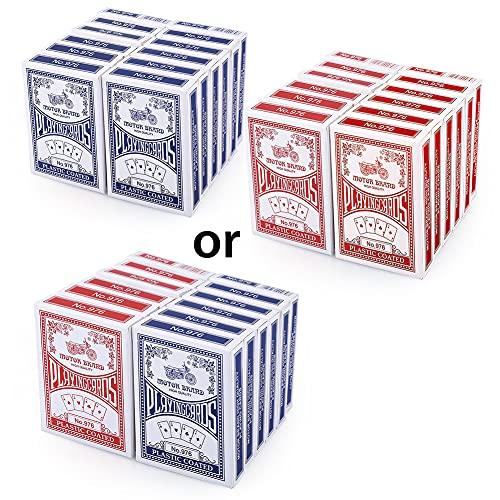 LotFancy Spielkarten 12X Pokerkarten Poker Set (blau oder rot) Playing Cards Standard, Top Qualität...