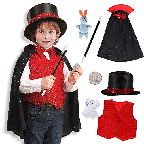 Tacobear 9Stk. Zauberer Kostüm Zubehör Set Kinder Magier Kinderkostüm Rollenspiel für Halloween...