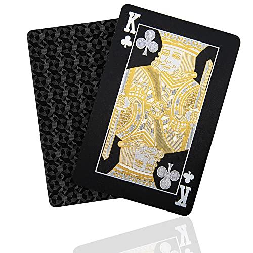 SENOPEKOO Deluxe Schwarze Spielkarten Playing Cards, Wasserdichtes Pokerkarten mit Glänzenden...
