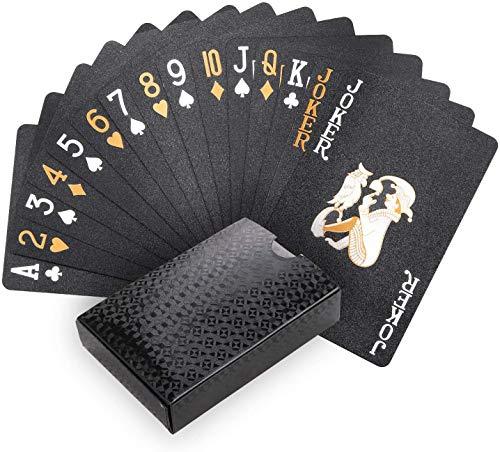 Joyoldelf Schwarzer Spielkarten, 100% Wasserdichtes Pokerkarten Plastik Profi Kartendecks Poker Cards...