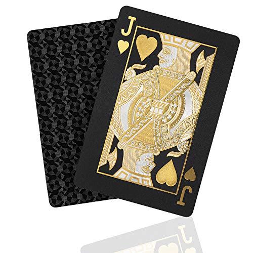 SENOPEKOO Premium Schwarze Spielkarten, Wasserdichtes Pokerkarten mit Glänzenden Rautenmustern und...