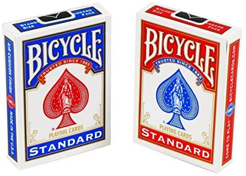 Bicycle Spielkarten für Herren und Damen, 88 x 63 mm, Rot / Blau, 2 Stück
