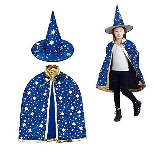 MUCHEN SHOP Zauberer Kostüm Kinder,Halloween Kostüme Zauberer Mantel mit Hut Hexen Mantel Stern Cape...