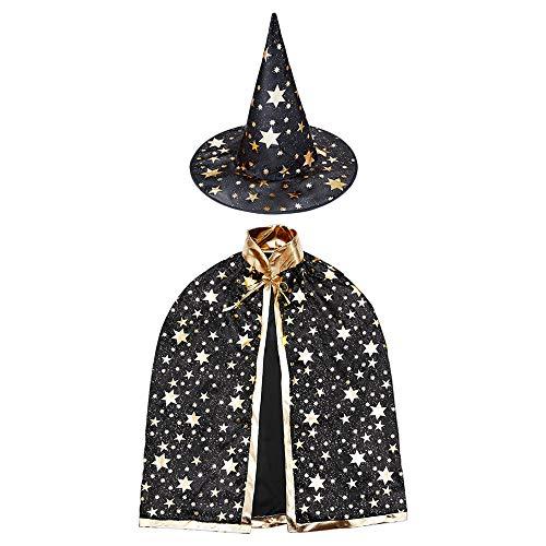 HomeMall Kinder Halloween Kostüm, Hexe Zauberer Umhang mit Hut für Kinder (Magie Schwarz)