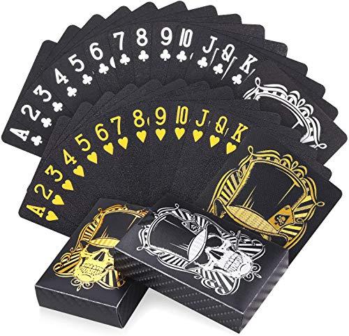 Joyoldelf 2 Coole Schwarze Spielkarten Plastik, wasserdichte Skelett-Design Pokerkarten (mit Schachtel),...