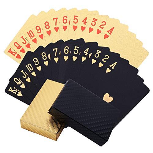 metagio 2 Stück Schwarz und Gold Spielkarte Schwarzes Kartendeck, Wasserdichte Pokerkarten Toll als...