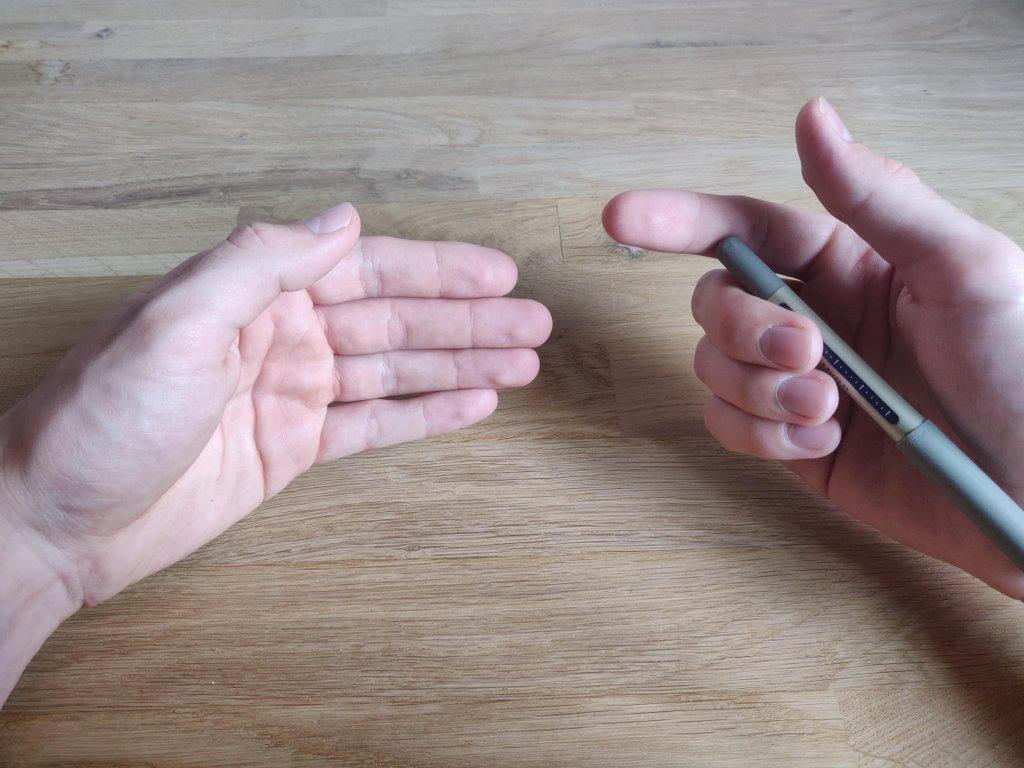 Bewege deine linke Hand mit der Handinnenfläche vor die rechte.