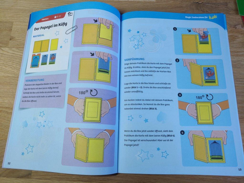 Seite 12 und 13 der Anleitung des Zauberkastens