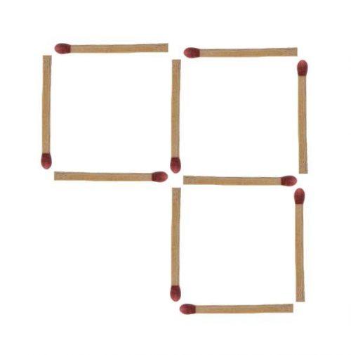 Streichholzrätsel 3 Quadrate