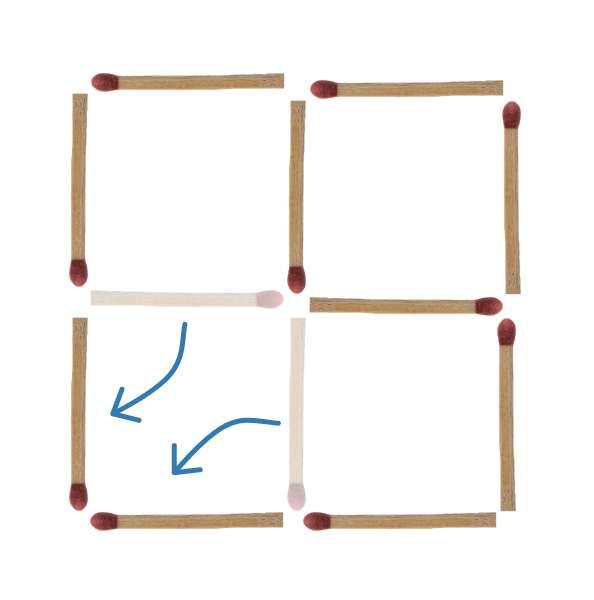 Streichholzrätsel 3 Quadrate Lösung 2