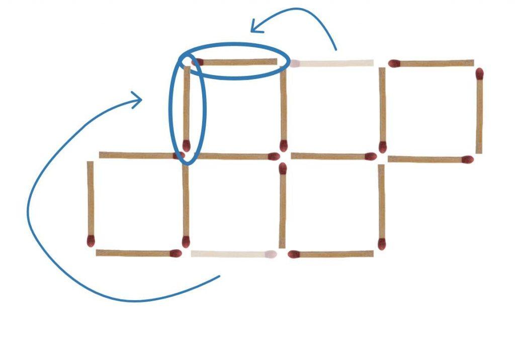 Streichholzrätsel 5 Quadrate Lösung 1