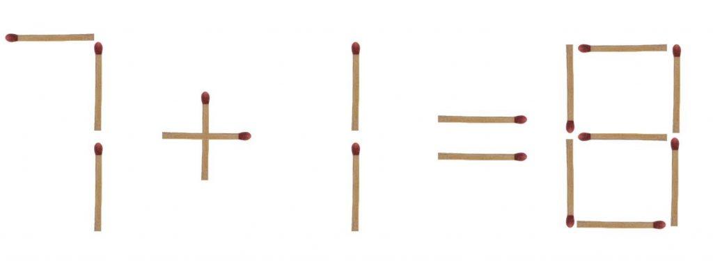Streichholzrätsel 7 + 7 = 6 Lösung 1