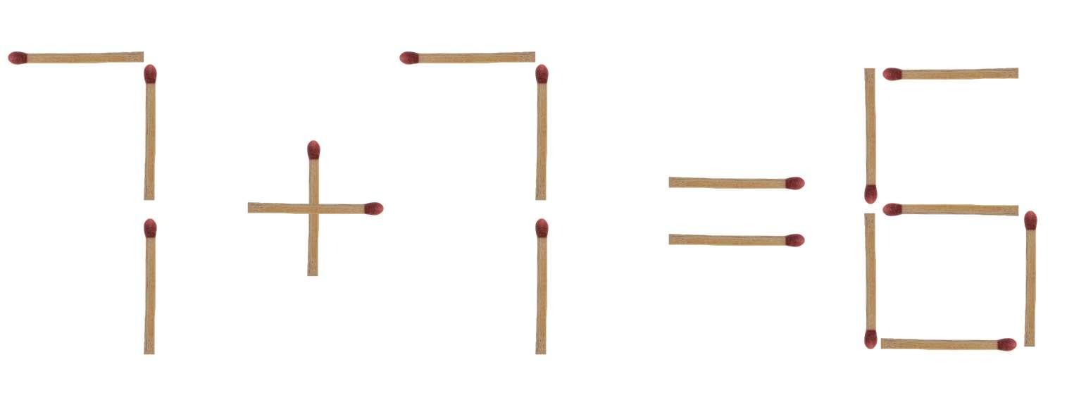 Streichholzrätsel 7 + 7 = 6